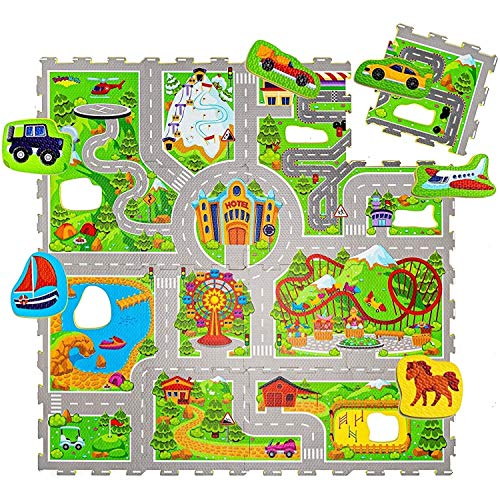 Hakuna Matte Puzzlematte für Babys Urlaub 1,2x1,2m – 16 Schaumstoffplatten mit Straßen – 20% dickere...