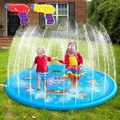 AILUKI Splash Pad Wasserspielzeug Spielmatte Outdoor Garten Splash Spielmatte für Baby Party Sprinkler und...