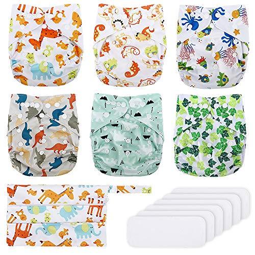 Stoffwindeln Windelhose Baby Waschbar Set, Exqline 6er Pack Mikrofaser Trainerhose Töpfchentraining...
