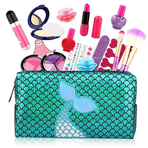 Baztoy Kinderschminke Set 17PCS, Mädchen Spielzeug Waschbar Schminkset mit Schminkkoffer Makeup Spiele Kinder...