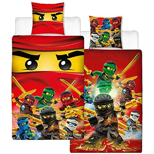Lego Ninjago Kinder-Bettwäsche Fire Champion - 135x200 cm + 80x80 cm - 100% Baumwolle Linon - Cole - Jay -...