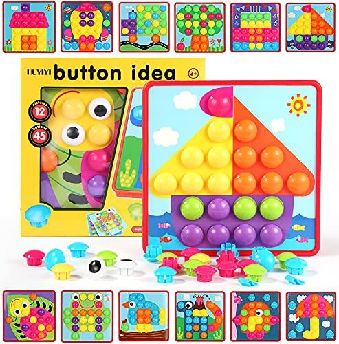 HUYIYI Mosaik Steckspiel für Kinder ab 2 Jahre,Lernspielzeug Geschenk für Mädchen Junge,Steckmosaik mit 45...