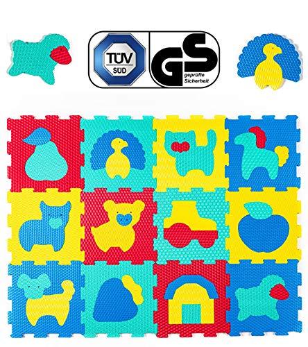 Hakuna Matte Puzzlematte für Babys – TÜV SÜD GS Zertifiziert – 12 Fliesen mit Tieren in einem...