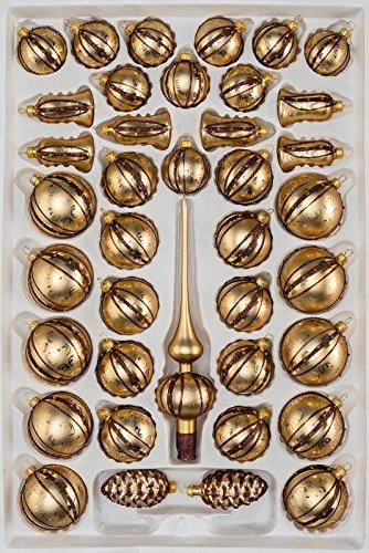 39 TLG. Glas-Weihnachtskugeln Set in Goldener Traum Spezial - Goldene-Glanz & Matt Ornamente- Christbaumkugeln...