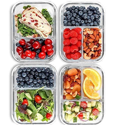 2 & 3 Fächer Glas Meal Prep Behälter [4er Pack, 950 ML] - Lebensmittel-Behälter mit Deckel, BPA-freie...