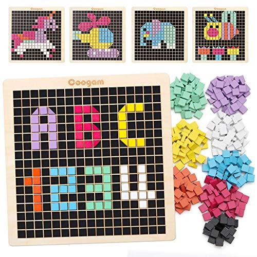 Soul hill Holz-Muster Puzzle, 370PCS Form Mosaik-Blöcke mit 8 Farben, Pixel-Brettspiel STEM Montessori...