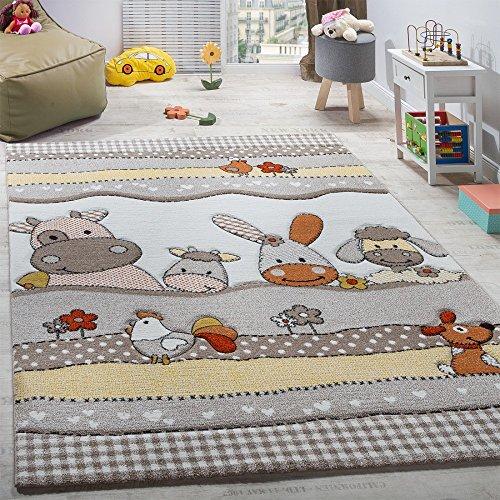 Paco Home Kinderteppich Kinderzimmer Lustige Bauernhof Tiere Konturenschnitt Beige Grau, Grösse:140x200 cm