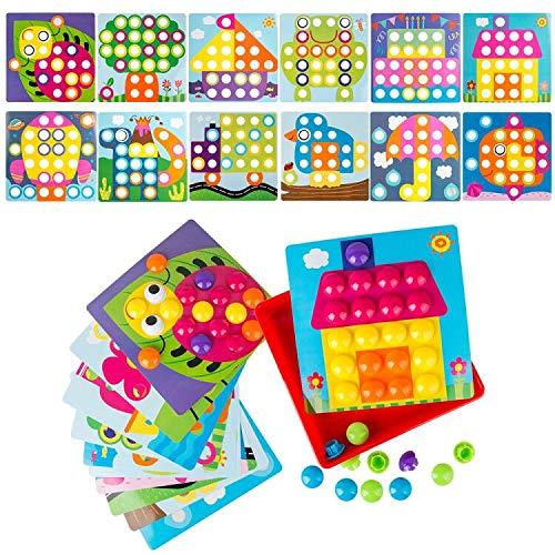 LVHERO Mosaik Steckspiel für Kinder ab 2 Jahre, Steckmosaik mit 46 Steckperlen und 12 Bunten Steckplätte,...