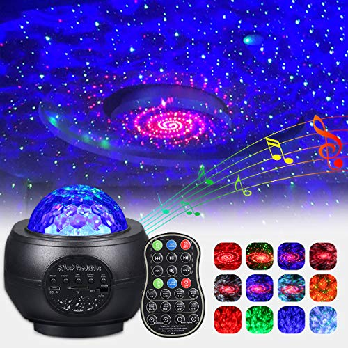 LED Sternenhimmel Projektor, 360° Drehen Dimmbar Sternenlicht Projektor mit Fernbedienung Bluetooth...
