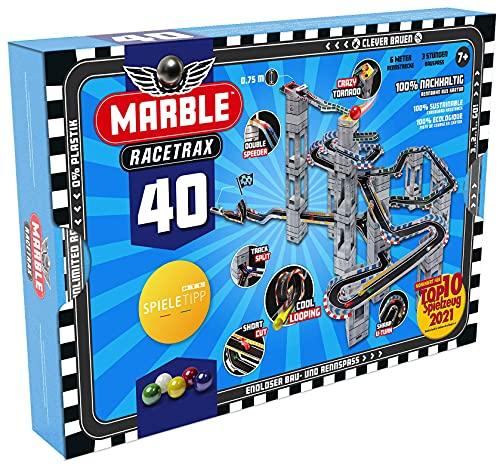 Marble Racetrax 869027 - Murmel Mania Rennbahn Starter Set 40 teilig, Kugelbahn mit 6 Meter Laufstrecke & 5...