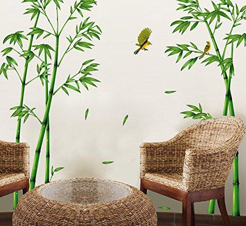 ufengke® Grüner Bambus und der Vogel Wandsticker, Wohnzimmer Schlafzimmer Entfernbare Fenstersticker...