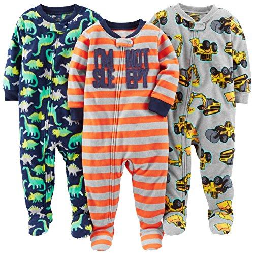Simple Joys by Carter's Baby und Kleinkind Jungen 3er-Pack Fleece-Schlafanzug ,Red Stripe/Diggers/Dino ,4T