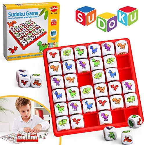 VATOS Dinosaurier Sudoku Brettspiel, Spaß Logik Sudoku Puzzle Spiele für Kinder ab 6 7 8 9 10+ Jahren,...