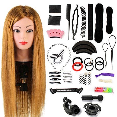 Neverland Beauty 24' Übungskopf Frisierkopf Friseur 60% Echthaar Haar Perückenkopf Puppenkopf Übungskopf...