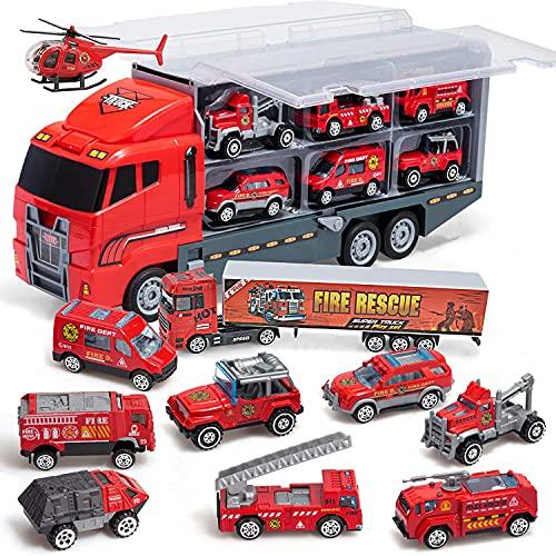 Coolplay Feuerwehrauto Groß Autotransporter Spielzeug Einsatzfahrzeug Kinder Autos Spielzeug Set für ab 3...
