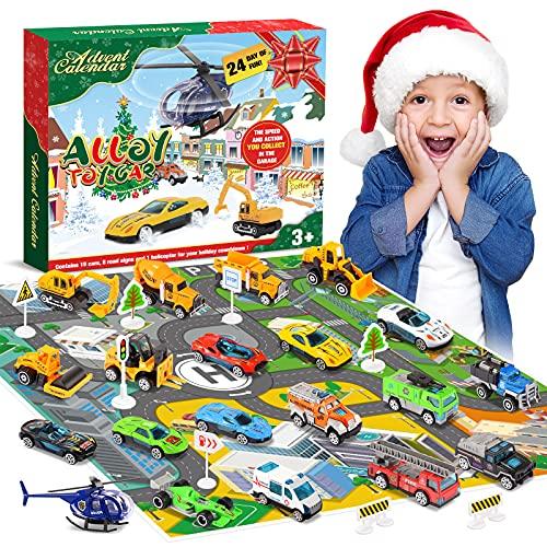 Diyfrety Spielzeug ab 2 3 4 5 6 7 Jahre, Adventskalender 2021 Kinder Auto Spielzeug Kleine Geschenk für...
