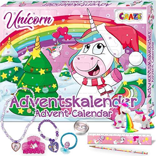 CRAZE Adventskalender UNICORN niedliche Einhorn Figuren Haarschmuck Accessoires Weihnachtskalender für Kinder...