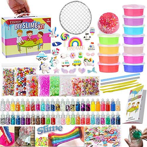 essenson DIY Slime kit Schleim Selber Machen mit 12 Farben Crystal Slime, Glitter, Charms, Fruit Slices,...