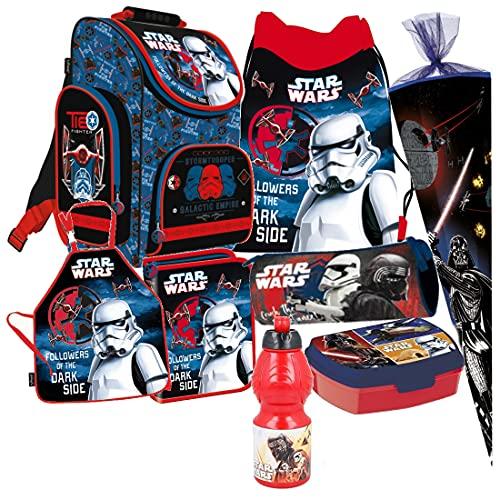 Star Wars 8 TLG. Schulranzen RANZEN Episode SCHULTÜTE 85 cm Tornister Malschürze Rucksack Tasche Set +...