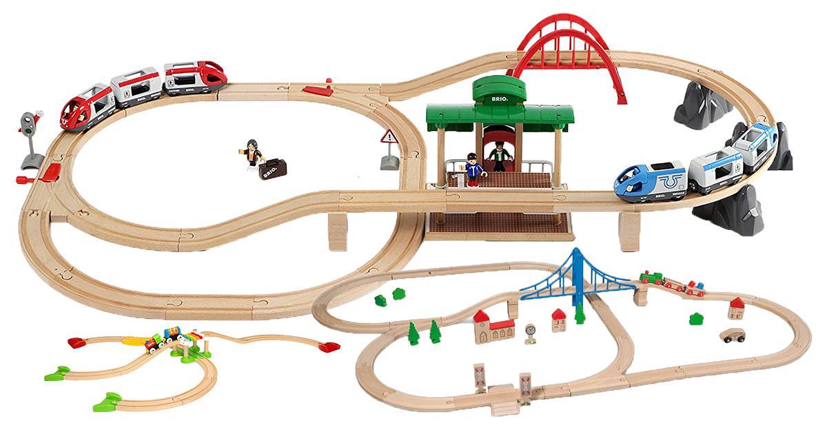 64 teilig Holz-Bahn Schienensortiment Catschat